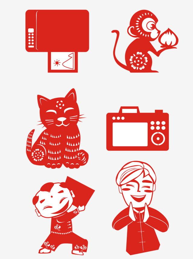 Papel cortado foto colección familiar Rojo Festivo Corte de papel Rejilla  Gratis PNG y Clipart d7b00c276918