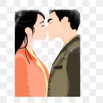 Men And Women Kiss Cartoon Creative Decorative Buckle Free, Kiss