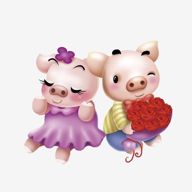 Поздравление, открытки игрушки поросенок целует подружку