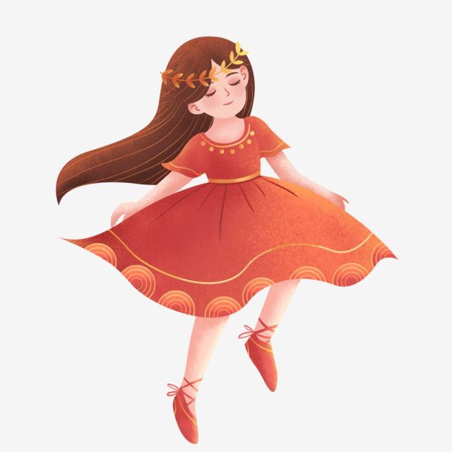 Bailarina De Color Rojo Coral Anual De Diseño Sueño Rojo Coral