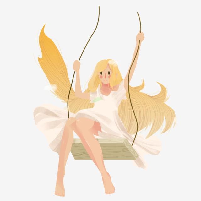 Free swinging woman