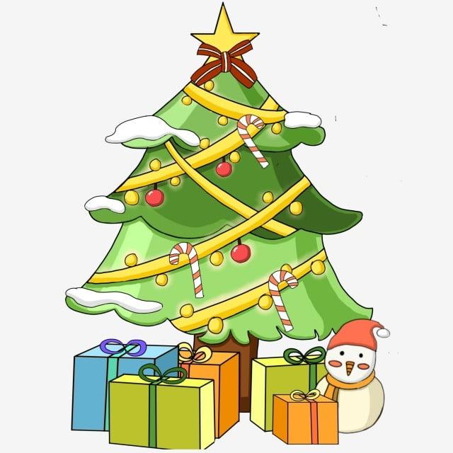 Desenho Animado Colorido Arvore De Natal E Design Presente