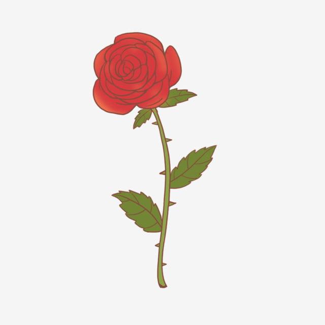 Dessin Animé à La Main Dessiné Fleur Rouge Rose Dessin