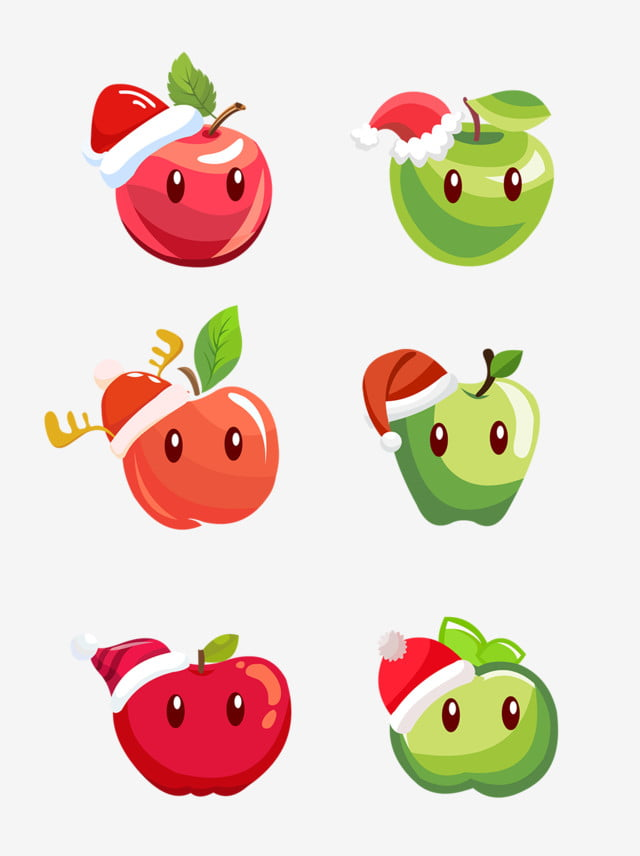 Nochebuena Dibujado A Mano Dibujos Animados De Manzana Con Sombrero