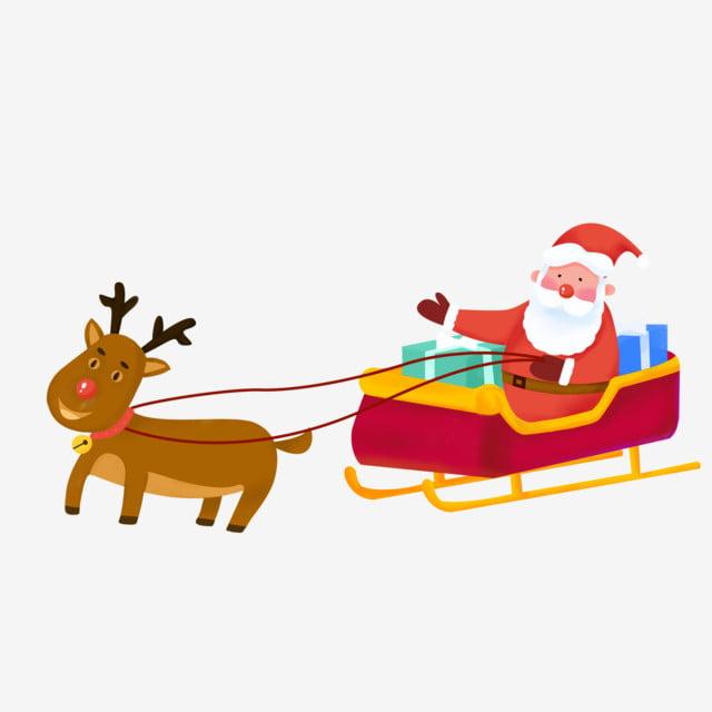 Père Noël Assis Sur Un Traîneau Avec Des Cadeaux Dessin