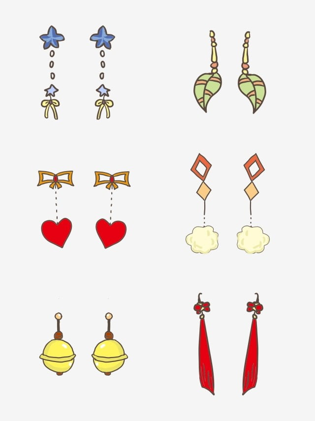 Commercial Hand Painted Cartoon Cute Simple Earrings Elements Hand Painted Lovely Cartoon Png Transparent Image And Clipart For Free Download