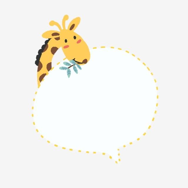 Cute Animal Baby Giraffe Dialog Bubble Border Material ...