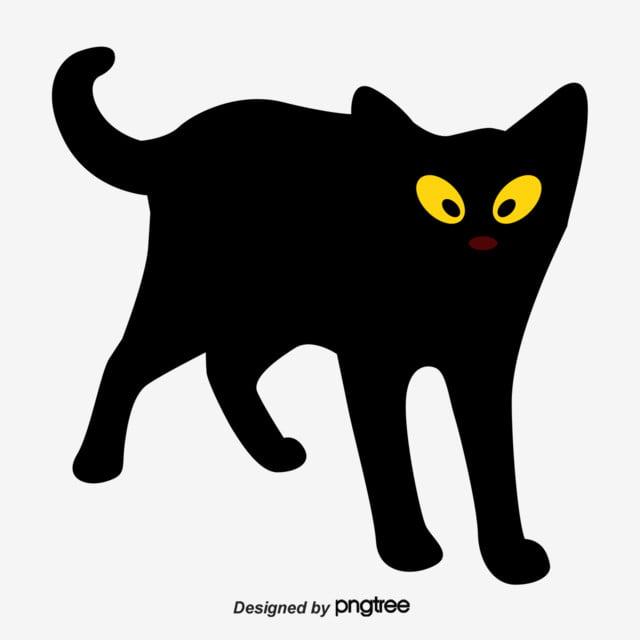 Illustration De Dessin Animé Dessiné à La Main Chat Noir