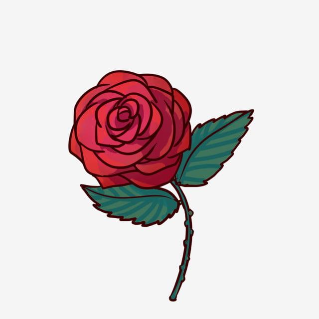 Dessin Animé Dessiné à La Main Rose Rouge Pour Un Usage