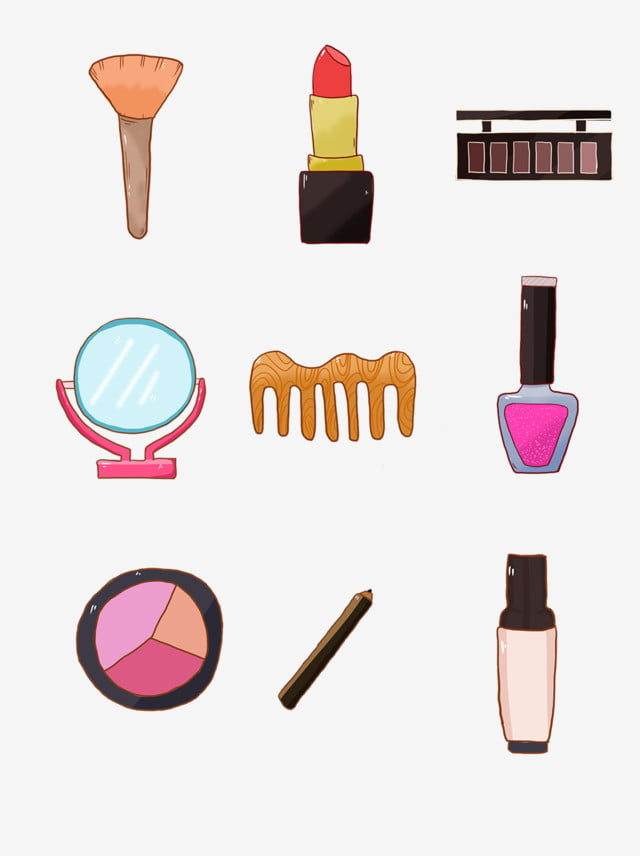 Hand Drawn Cosmetics Account Elements Collection, Hand