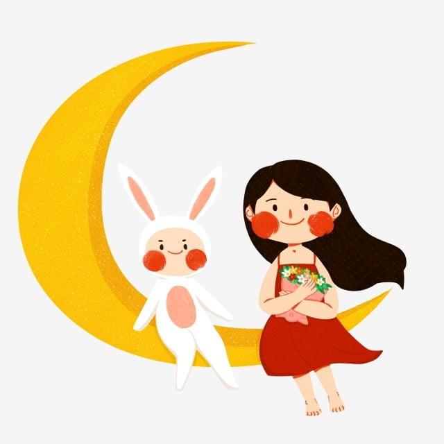 子供とウサギ月の上に座っての手描きイラスト イラスト 小さな女の子