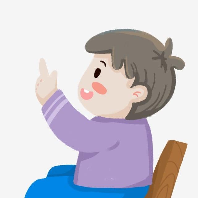 Ручной обращается маленький мальчик сидя на стуле, мультипликация, иллюстрация, табурет PNG и PSD-файл пнг для бесплатной загрузки