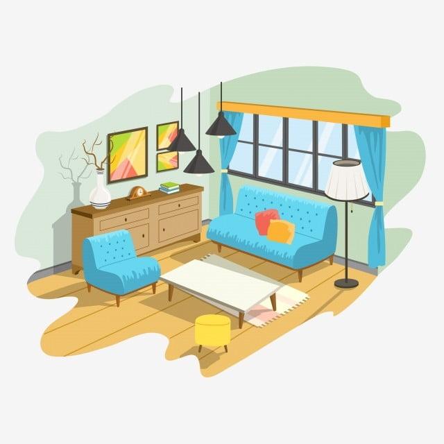 Irasi Hiasan Kartun Ruang Tamu Dalaman Yang Selesa Kopi Rumah Ikon Bangunan Keluarga Jadual Perabot Bilik Lampu Meja Apartment