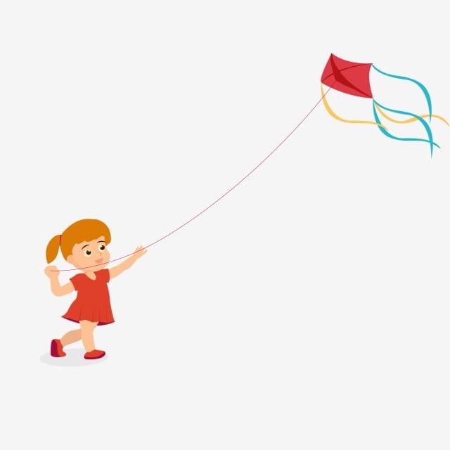 petite fille dessinant voler un cerf volant personnage ai