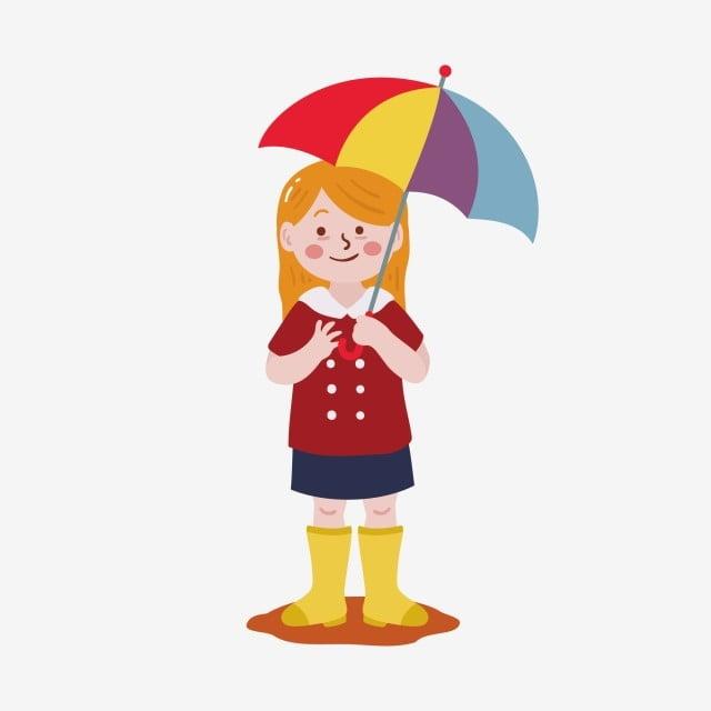 392c14f83 little girl illustration element holding a small umbrella girl,girl,character  design,ai