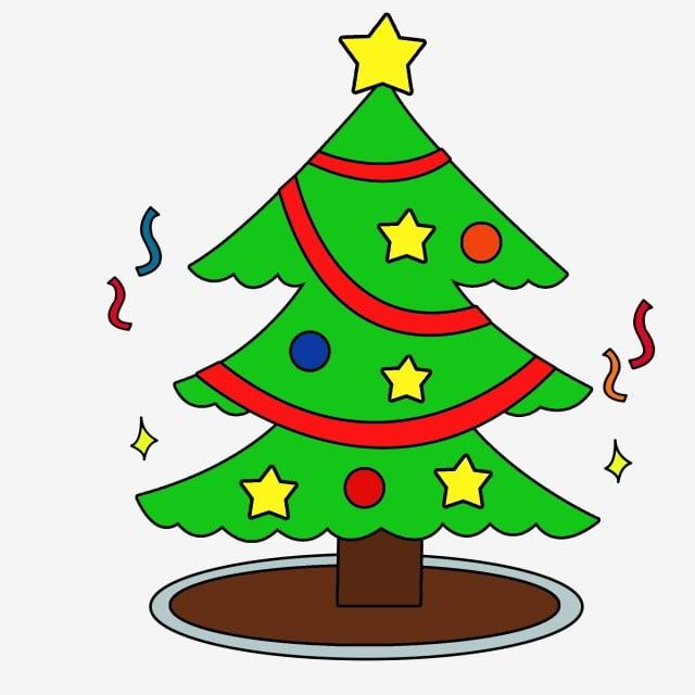 Minimalistic Creative Cute Cartoon Christmas Tree Scene With