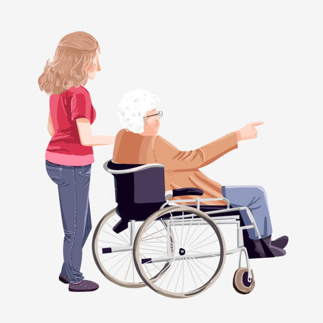 Old Man And Young Woman Cartoon Elements In A Wheelchair Man Woman
