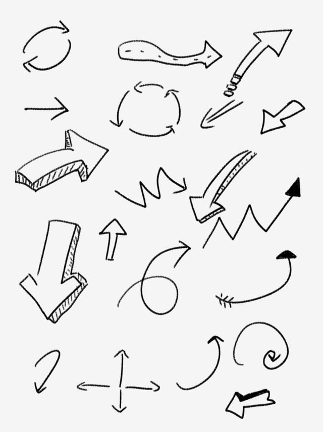 Set Of Diagram Arrow Elements Black Simple Commonly Used Hand