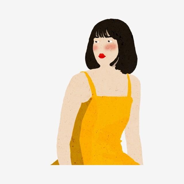 4b4a39571 الشعر القصير، رسم كاريكتوري، المرأة، الارتداء، الأصفر، حمالة، dress حر PNG  و PSD
