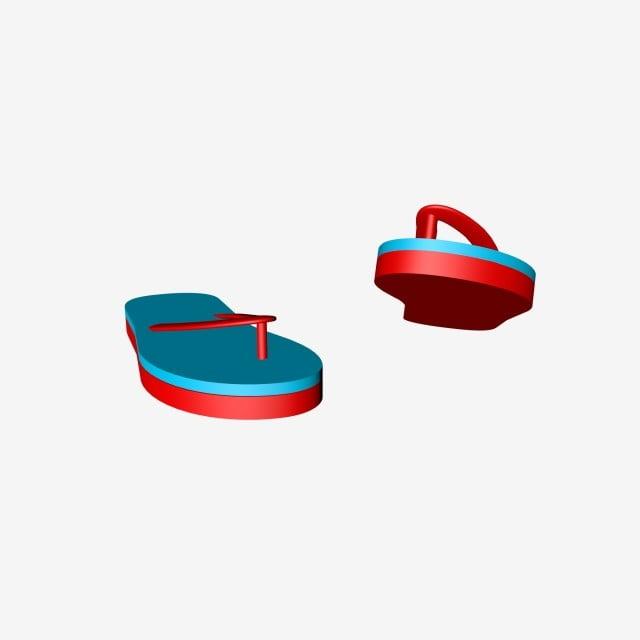 d756eda27a1 Simple Blue Red Flip Flop Poster Material Flops