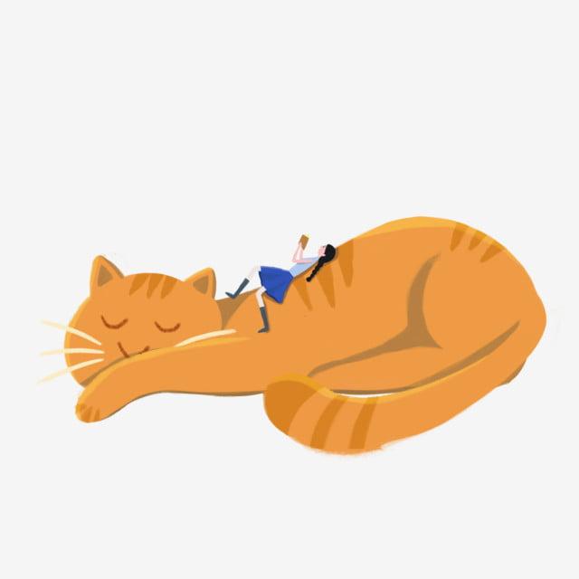 gambar kucing tidur dan elemen ilustrasi gadis tangan ditarik comel unsur ilustrasi png dan clipart untuk muat turun percuma pngtree