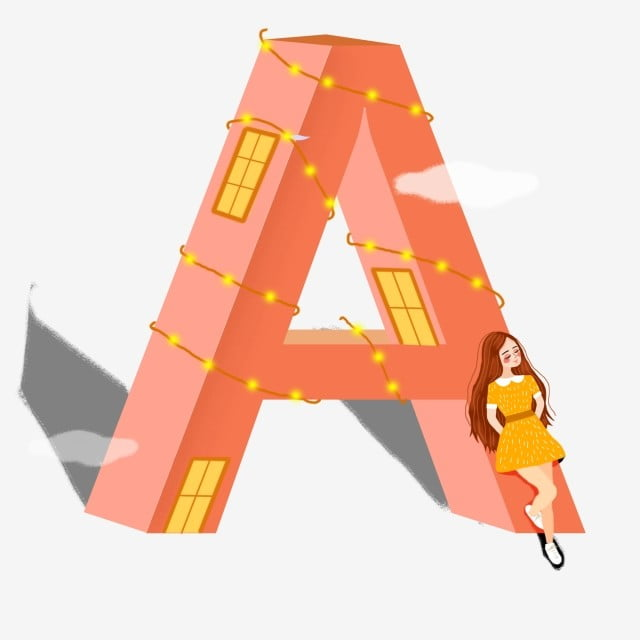 6cff1e9c3 stereo cartoon letter a and little girl commercial elements a,illustration,little  girl,