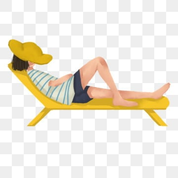 Beautiful Woman With Yellow Hat Covering Face Lying On A Beach Chair