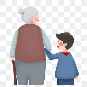 cartoon chongyang festival caring for elderly grandmother and grandson painting,hand painted,respecting the, Old, Double, Ninth PNG and PSD