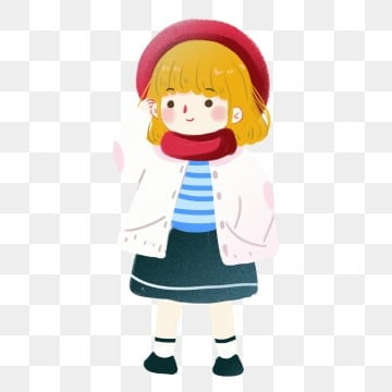 Cartoon cute winter little girl character illustration, Cartoon, Lovely, Child PNG and PSD