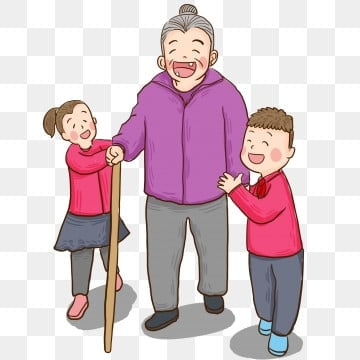 cartoon hand drawn grandmother crossing the road painted,illustration,comic,character,grandma,child,boy,girl,crutch,caring for the, Elderly, Cartoon Hand Drawn Grandmother Crossing The Road, Painted PNG and PSD