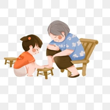 chongyang festival grandmother and her granddaughter hand-painted character design ninth festival,illustration,grandma,granddaughter,character,hand painted,cartoon, Chongyang Festival Grandmother And Her Granddaughter Hand-painted Character Design, Ninth, Festival PNG and PSD
