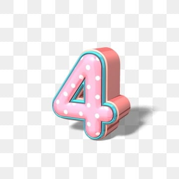 Creative 3d stereo pink cute rose gold art number 4, Creative, Three-dimensional Characters, Number 4 PNG and PSD