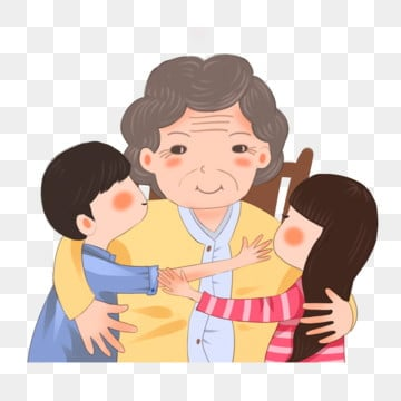 double ninth festival cartoon hand drawn grandmother and grandchildren painted,double ninth festival,grandma,illustration,grandson,granddaughter,respecting, Old, Old, Man PNG and PSD