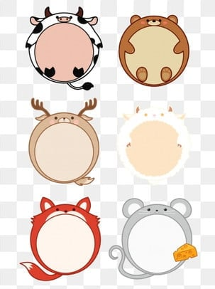 Hand drawn cartoon border cute animal set illustration with commercial elements, Hand Drawn Style, Frame, Border Element PNG and PSD illustration image