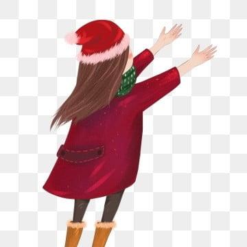 c49cf322f08c2 مرسومة باليد، christmas، إمرأة متزوجة، منظر الظهر، صمم مرسومة باليد رسوم  متحركة