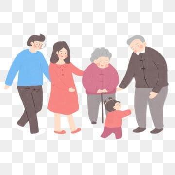 手描きの祖父母と3世代の商業的要素, 手描き, 新鮮な, 漫画 PNGとPSD