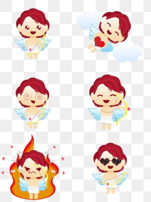 Love Is Coming To Redhead Cupid Cute Cartoon Set Illustration