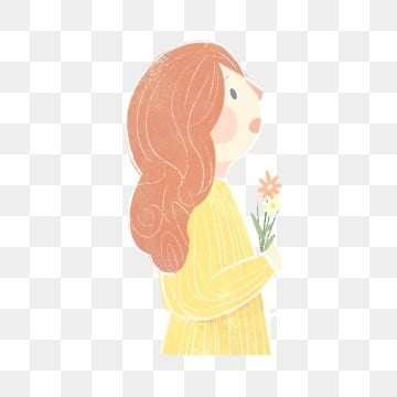Redhead Woman Cartoon Character Holding Wildflowers Yellow Shirt Wildflower Red Hair PNG And