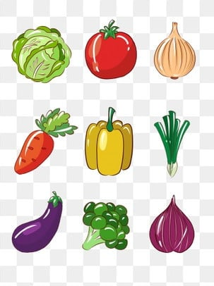 Simple vegetable and fruit hand drawn cartoon small elements, Fruit And Vegetable, Food, Cartoon Food PNG and PSD