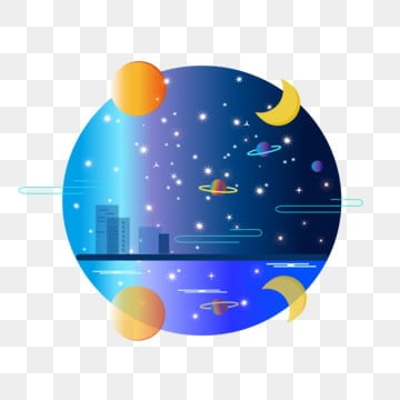 sun moon starry sky elements commercial stars universe, Starry Sky, Night Sky, Sun And Moon PNG and Vector