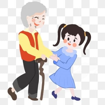 the little girl who helped the grandmother cross the road ninth festival,old man,illustration,respecting, Old, Scenes, Grandma PNG and PSD