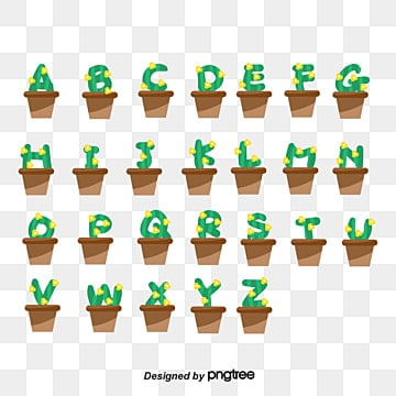 vector flattened english alphabet potted plant lovely art font Fonts