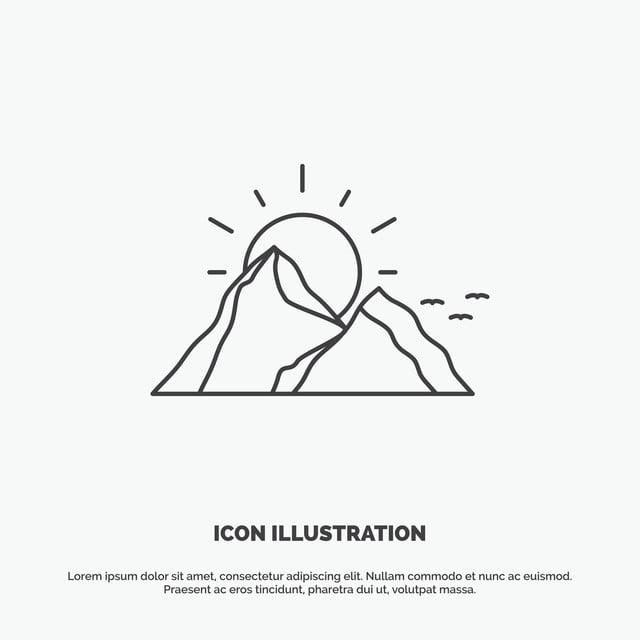 Hill Landscape Nature Mountain Sun Icon  Line Vector Gray Sy, Line Icons, Sun Icons, Icons Icons PNG and Vector