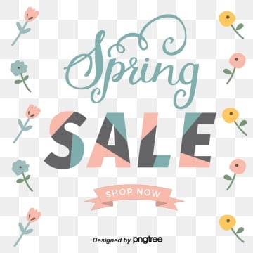 Flower Stitching Font Spring Promotion Spring Visual Elements, List, Promotion, Discount PNG and Vector