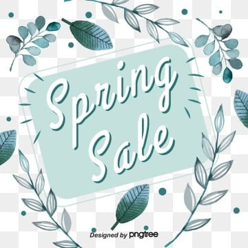 green plant leaf border spring promotion spring visual elements, Promotion, Leaf, Discount PNG and Vector