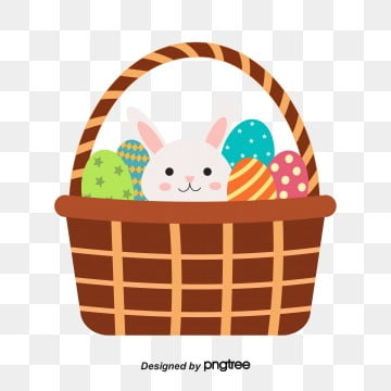 simple hand painted creative easter basket, Rabbit, Cartoon,  PNG and Vector