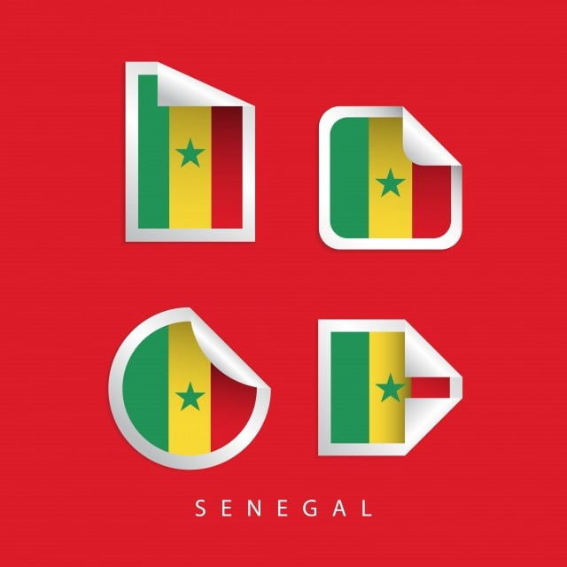 Senegal Label Flags Vector Template Design Illustration