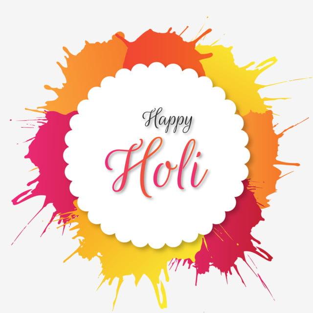 colorful happy holi with splash splatter vector