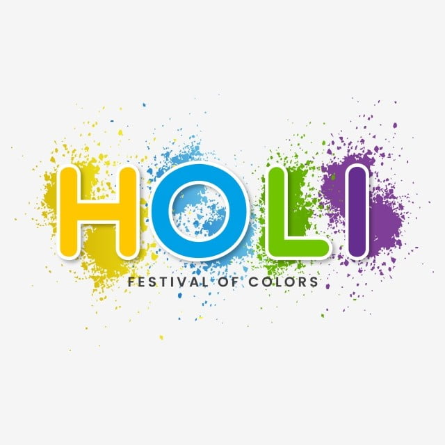colorful spots holi with holi text
