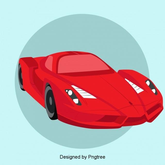 Design Elements Of Cartoon Red Sports Car Vehicle Cartoon Pattern